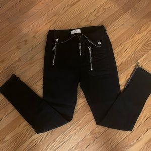 Black pants with zipper detail